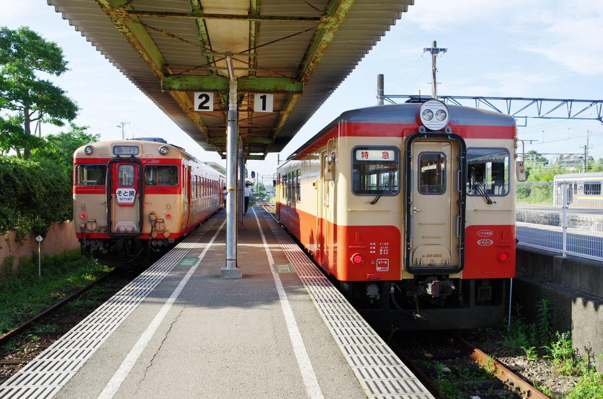 急行と特急の並び〜いすみ鉄道